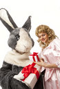 Free Pretty Girl With A Big Grey Rabbit Stock Image - 19229531