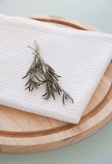 Free Rosemary On The White Towel Stock Photo - 19220620