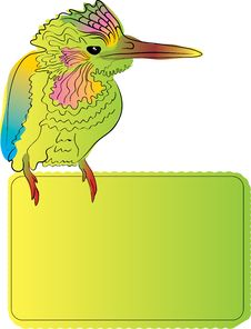 Bright Bird With Blank Banner Royalty Free Stock Photography