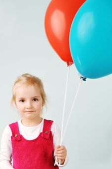 Free Girl With Balloons Royalty Free Stock Photography - 19222007