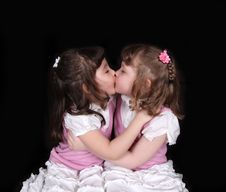 Free Adorable Twins Embracing On Black Stock Photos - 19222343