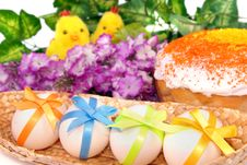 Free Easter Background With Cake, Eggs Stock Photos - 19222393