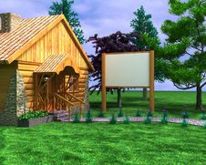 Free Wooden House With A Signboard Royalty Free Stock Photography - 19222477