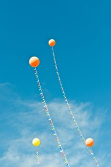 Free Balloons With Streamers In A Blue Sky Royalty Free Stock Photography - 19222687