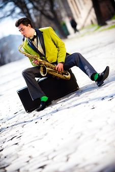 Man With A Saxophone Royalty Free Stock Image