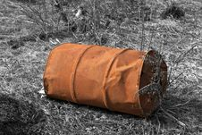 Ecology Concept. Old Rusty Barrel Stock Photo