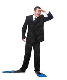 Free Man In A Business Suit And Flippers For Swimming Royalty Free Stock Photography - 19224837