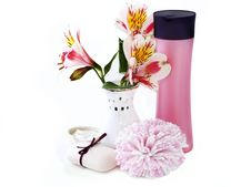 Free Shampoo, Soap,sponge And Orchids Stock Photo - 19224850