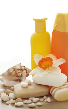 Free Soap, Shampoo, Flowers Stock Photos - 19224893