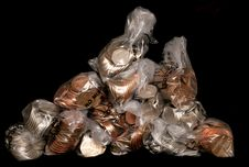 Free Pile Of Sterling Coins In Money Bags Stock Images - 19225544