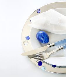 Free Table Decoration In White And Blue Stock Photo - 19226150