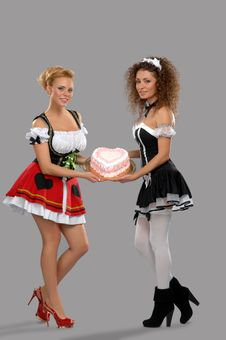 Free Two Pretty Girls Waitress Stock Photography - 19226392