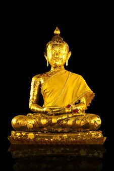 Gold Buddha Statues On Background Royalty Free Stock Photo