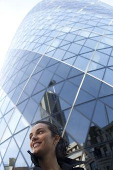 Free Woman In Front Of 30 St Mary Axe In London Royalty Free Stock Photography - 19226487
