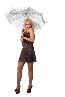 Free Woman With A Leaky Umbrella Royalty Free Stock Photography - 19227117