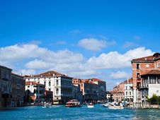 Venice  S Grand Canal With Blue Sky Stock Image