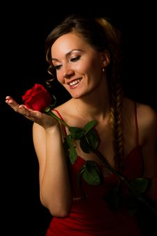 Free Girl And A Red Rose Royalty Free Stock Photography - 19228657