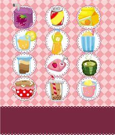 Cartoon Drink Card Stock Photos