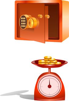 Safe And Basket Scale Full Of Gold Coins. Royalty Free Stock Image