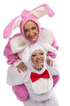 Free Pink Rabbit Jumping On White Rabbit Royalty Free Stock Photo - 19229465