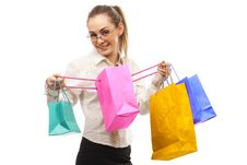 Free Stylish Woman With Shopping Bag Stock Photography - 19229482