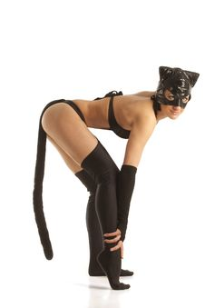 Free Model In Latex Cat Costume Stock Image - 19229501