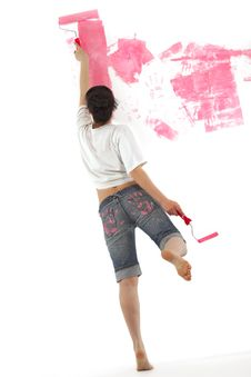 Free Girl Painting A Wall With Roller Stock Photo - 19229520