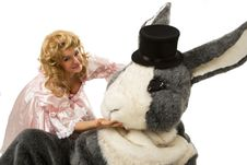 Pretty Girl With A Big Grey Rabbit Stock Photography