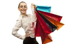 Free Stylish Woman With Shopping Bag Royalty Free Stock Image - 19229626