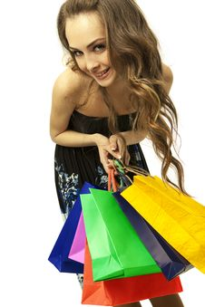 Free Stylish Woman With Shopping Bag Royalty Free Stock Photography - 19229637