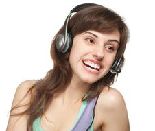 Free Happy Girl With Headset Royalty Free Stock Image - 19231446