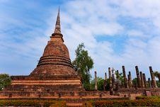 Wat Sa Si In Sukhothai, Temple Ruins Thailand. Royalty Free Stock Images