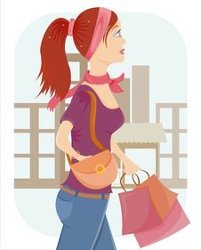 Free Girl With A Lot Of Bags Stock Photo - 19234080