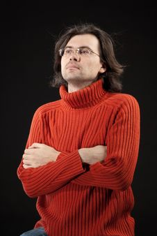 Free Man In Red Sweater And Glasses Stock Images - 19234264