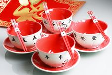 Free Red Bowls And China New Yeah Wish Stock Images - 19234704