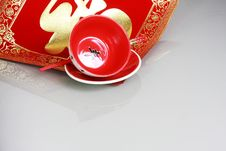 Red Bowl And China New Yeah Wish Stock Image