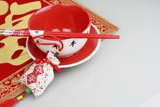 Red Bowl,chopsticks And China New Yeah Wish Stock Images