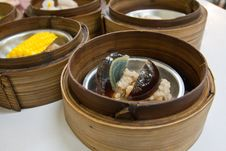 Free Preserved Egg Dimsum In Bamboo Container Closed Up Royalty Free Stock Photography - 19235047