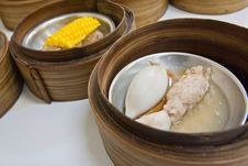 Free Squid Dimsum In Bamboo Container Closed Up Stock Photography - 19235122