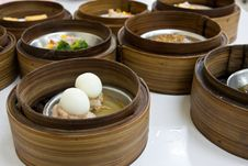 Free Egg Dimsum In Bamboo Container Closed Up Stock Image - 19235161
