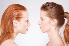 Free Profile Of Two Red-haired Woman Stock Photo - 19235430