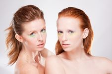 Free Two Red-haired Beautiful Woman Stock Photo - 19235440