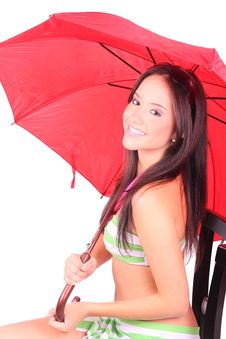 Free Girl With Red Umbrella Stock Photo - 19236290