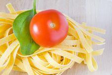 Italian Pasta Tomato And Basil Stock Images