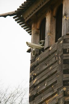 Cameras On Wooden Tower. Stock Photo