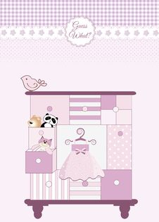 Free New Baby Greeting Card With Nice Closed Stock Photo - 19236800