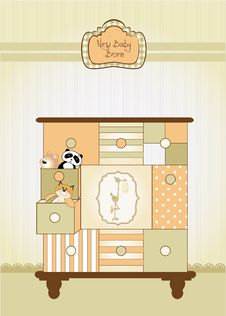 Free Baby Greeting Card With Nice Closed Royalty Free Stock Image - 19236846