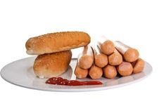 Free Sausages With Bread And Ketchup Stock Photo - 19237060