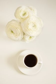 Free Coffee And Flowers Stock Image - 19237261