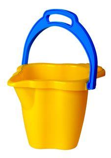 Free Children S Yellow Bucket Isolated Stock Photo - 19237800